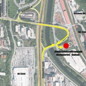 Zberňa triedeného odpadu Dechetteries - Radvaň - lokalizácia