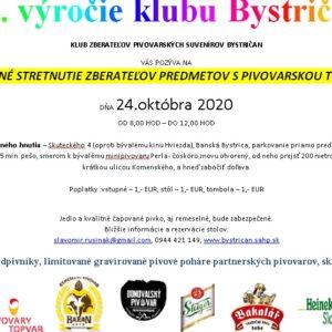 20.výročie klubu Bystričan - pivná burza 24.10.2020